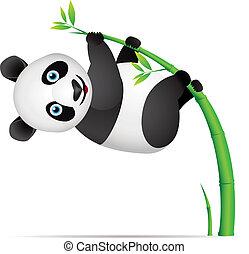 Panda cartoon hanging on bamboo tree