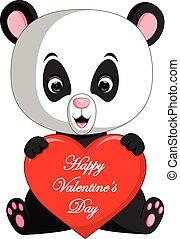 panda cartoon with love