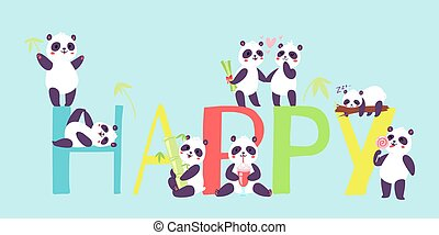 Panda characters in different positions banner vector illustration. Chinese bear newborn happy panda toys. Animal drinking cocktail, eating lollipop sleeping on tree branch.