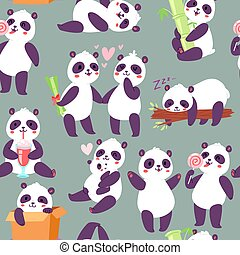 Panda characters in different positions seamless pattern vector illustration. Chinese bear happy panda. Animal drinking cocktail, eating lollipop, sleeping on tree branch.