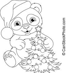 Panda Christmas Coloring Page
