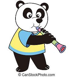 panda, clarinete, tocando, caricatura