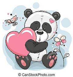 panda, coeur