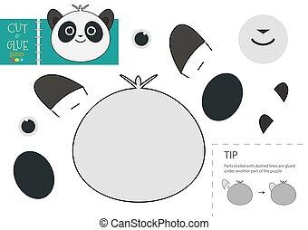 panda, colle, vecteur, papier, caractère, activité, pédagogique, toy., coupure