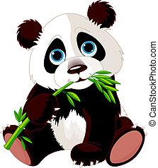 panda, comer, bambu