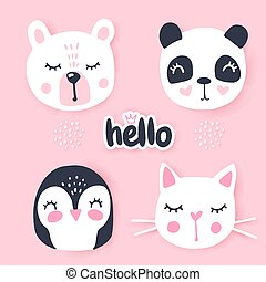 panda, conjunto, animales, pingüino, -, conejito, cat., vector, oso, caricatura