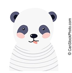 Panda cute animal baby face vector illustration. Hand drawn style nursery character. Scandinavian funny kid design