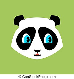 Panda cute Emoji. Chinese bear nice face