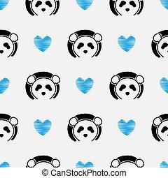 Panda cute face seamless pattern. Happy cute panda head repeat pattern with blue love white background