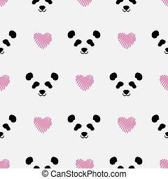 panda cute face seamless pattern. Happy cute panda head repeat pattern with pink love white background