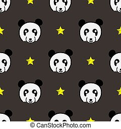 panda cute face seamless pattern. Happy cute panda head repeat pattern with yellow star and grey background