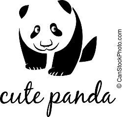 panda., cute, vetorial, ilustração
