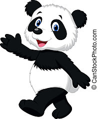 panda, cute, waving, caricatura, mão