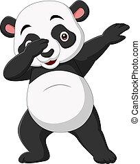 panda, dabbing, carino, cartone animato, atteggiarsi