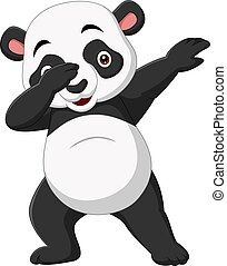 panda, dabbing, lindo, caricatura, postura