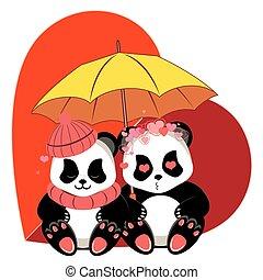 panda, dessin animé, coeur