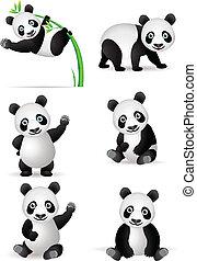 panda, dessin animé, collection