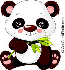 panda, diversión, zoo.