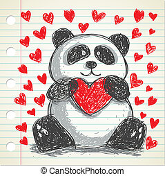 panda doodle with heart