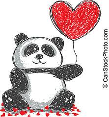 panda doodle with love ballon