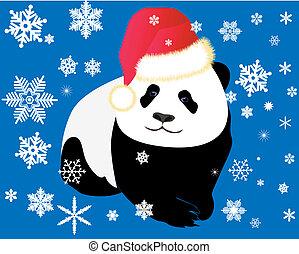 Panda dressed in a red cap