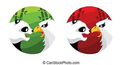 Panda Eagle Logo Illustration Vector in Flat Style