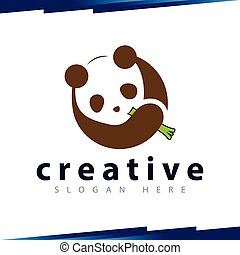 Panda eat bamboo logo template
