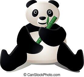 Panda eating a bamboo