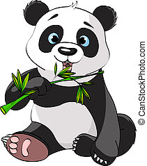Panda eating bamboo - Baby Panda Sitting And Munching On...