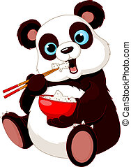 Panda eating rice with chopsticks