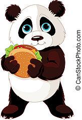 Panda eats a hamburger - Illustration of cute Panda eats ...
