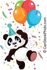 panda, en, ballons