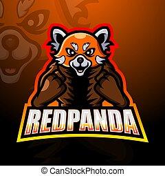 panda, esport, mascotte, rood, ontwerp, logo