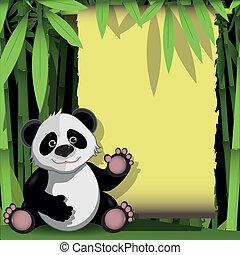panda, forêt bambou, gai