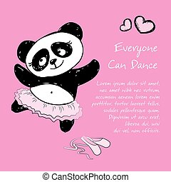 Panda Girl ballet dancer, vector illustration background