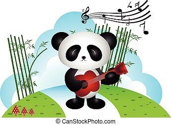 panda, grając gitarę, w parku
