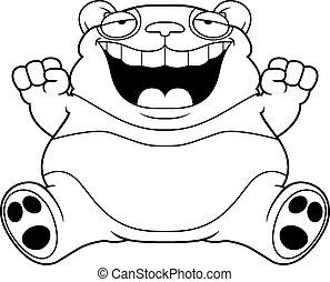 panda, grasso, cartone animato, orso, seduta