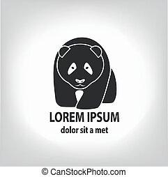 Panda grey label - vector illustration