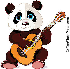 Panda guitarist - Illustration of panda plays guitar