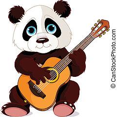 Panda guitarist - Illustration of panda plays guitar
