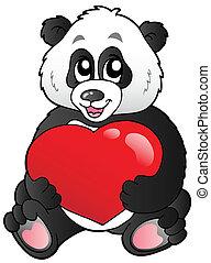 panda, hart, spotprent, rood, vasthouden