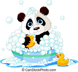 Panda having a bath - Very cute panda having a soapy bath