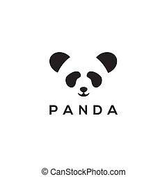 Panda head logo design vector template
