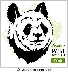 Panda head mascot - panda head vector illustration in monochrome style