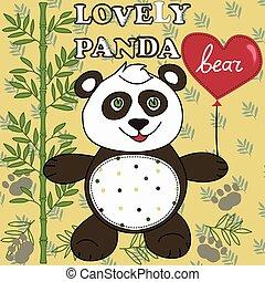 panda, heart., mignon