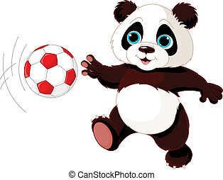 Panda hits the ball - Illustration of panda cub playing...