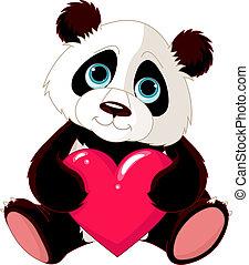 panda, hjärta, söt