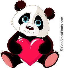 panda, hjerte, cute