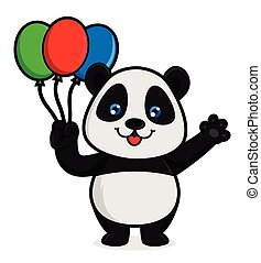 Panda hold baloons isolated in white background