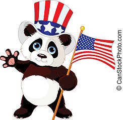Panda Holding American Flag - Cute Panda Holding American...